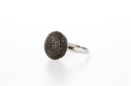 Black Dome Ring .925 sterling silver and Black CZ