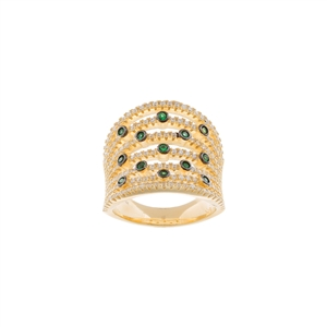 Lab Created Green Spinel Multi Row Bezel Ring