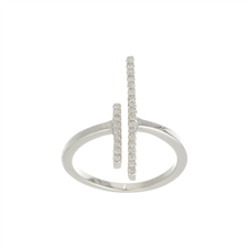 .925 Sterling Silver Double Bar Ring