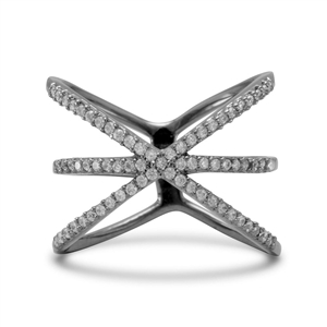 Ruthenium Plated Triple Row Criss Cross Ring