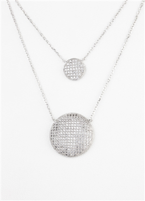 Gorgeous Double Layered Pave' Necklace, CZ Necklace