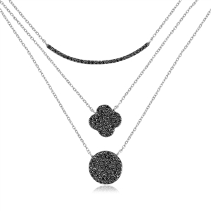 Black Spinel Triple Layered Necklace