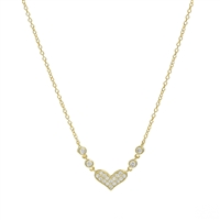 Gold over Silver Necklace Heart Necklace