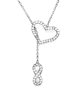 Beautiful Silver, Heart and Infinity Necklace