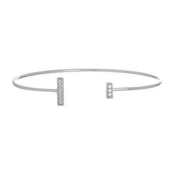 .925 Sterling Silver Asymmetric Bar Cuff