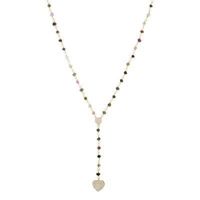 "Semi-Precious Gemstone Stone ""Y""  Heart Necklace"