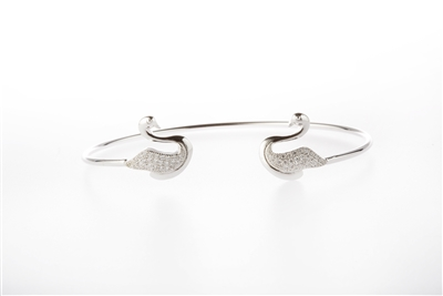 .925 Sterling Silver Swan Bangle