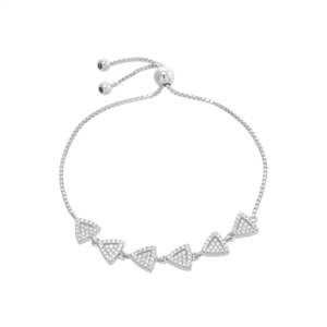 .925 Sterling Silver and CZ Triangle Bracelet
