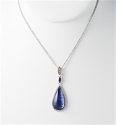 Blue Quartz Necklace with CZ Accent Stones