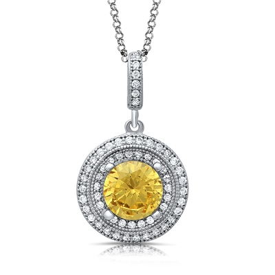 Round Canary Yellow Pendant Necklace