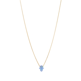 Lab Created Blue Opal Hamsa Pendant Necklace