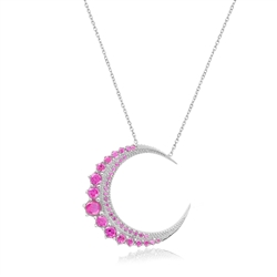 Pink Sapphire Crescent Moon Necklace