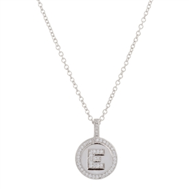 ".925 Sterling Silver ""E"" Initial Pendant Necklace"