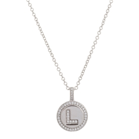 "925 Sterling Silver ""L"" Initial Pendant Necklace"