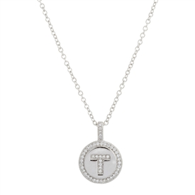 "925 Sterling Silver ""T"" Initial Pendant Necklace"