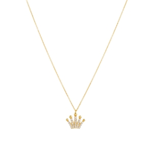 14K Gold Over Sterling Silver Crown Necklace