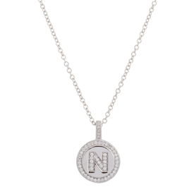 ".925 Sterling Silver ""N"" Initial Pendant Necklace"