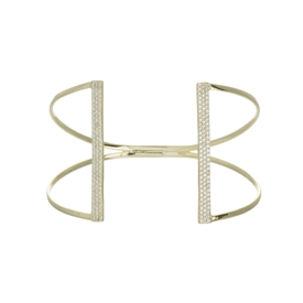 14 K Gold Over Silver  Double Bar Cuff Bracelet