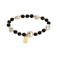Black Agate & Freshwater Pearl Stretch Bracelet