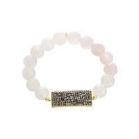 Rose Quartz & Crystal Stretch Bracelet
