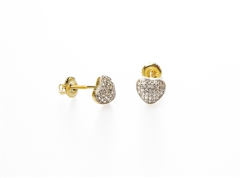 Petite Gold Over Silver Heart Earrings