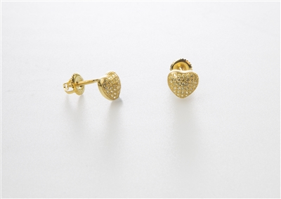 Petite Gold over Silver Stud Heart Earrings