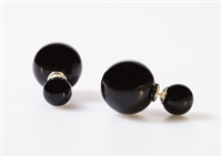 Black Double-Sided Lab Created Pearl Earrings