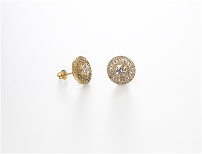 Dazzling Gold Over .925 Sterling Silver Round Earrings
