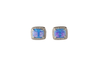 Lab Created Blue Opal Stud Earrings