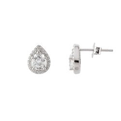 Silver Petite Pear Shaped Stud Earrings