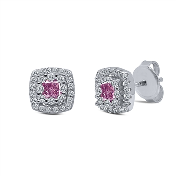 Pink and White Stud Earrings
