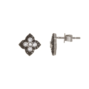 Black and White Flower Stud Earrings