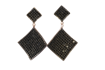 Rose Gold & Black CZ Earrings