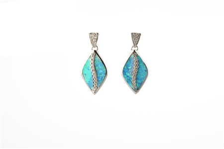 Lab Created Light Blue Opal Earrings