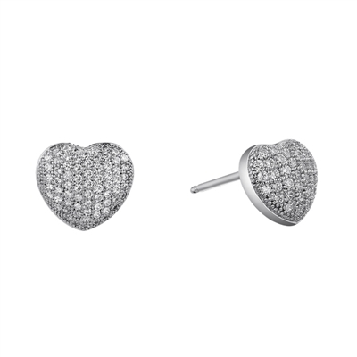 Micro Pave' Heart Studs