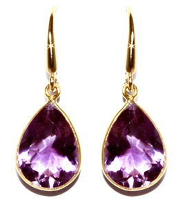 Gold Over Silver Amethyst Drop Earrings