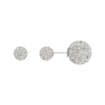 Silver Double-Sided Crystal Earrings