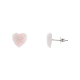 Lab Created Pink Heart Opal Earrings