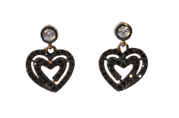 Black Heart Drop Earrings