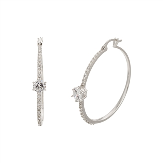 Sterling Silver & CZ-Solitaire Hoop Earrings