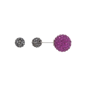 Pink and Dark Gray Double Sided Crystal Earrings