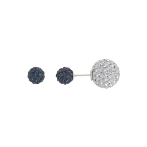 Silver and Dark Blue Double-Sided Crystal Earrings