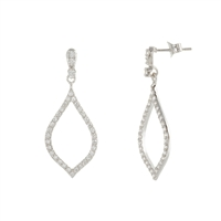 .925 Sterling Silver and CZ Abstract Drop Earrings