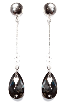 Black Crystal Long Tear Drop Earrings