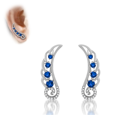 .925 Sterling Silver Blue & White CZ Ear Crawlers