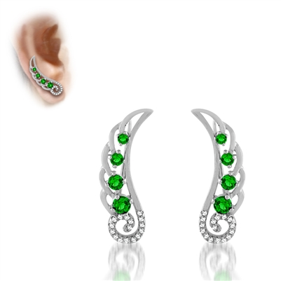 .925 Sterling Silver Green CZ Ear Crawlers