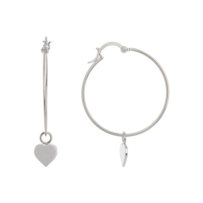 Hanging Heart and Hoop Earrings