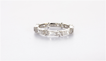 Dazzling Emerald Cut and Round Eternity Band