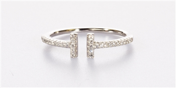 Double Bar .925 Sterling Silver and CZ Ring