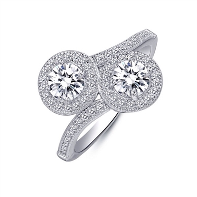 .925 Sterling Silver Double Halo Ring
